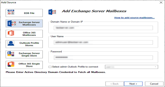 GainTools Exchange Recovery to recover E